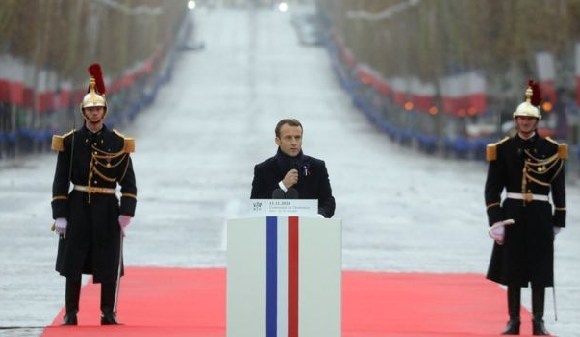 Mr Macron urged leaders to fight for peace