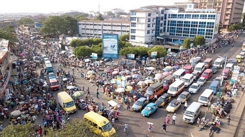 Heavy vehicular and human traffic has taken over the Central Business District