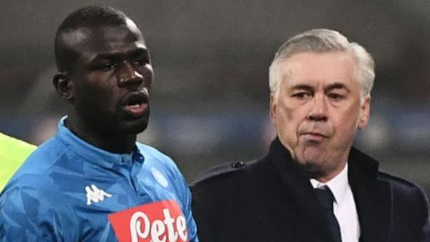 Koulibaly and Manager Ancelotti