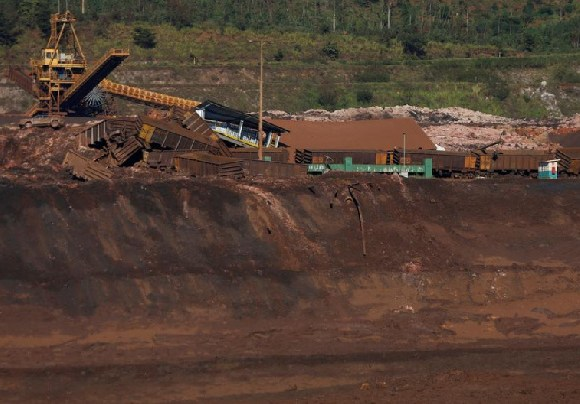 A view of a dam owned by Brazilian mining company Vale SA after it collapsed, in Brumadinho, Brazil