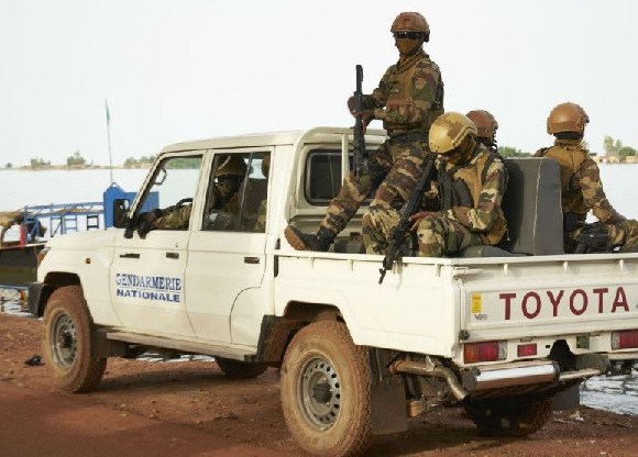 Malian soldiers on patrol in the central Mopti region in October 2018