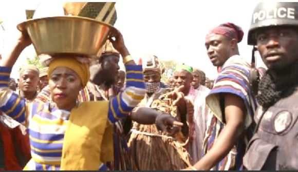 Women play several traditional roles during the enskinment of a Yaa Naa