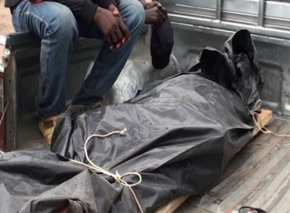 Body of the deceased wrapped in rubber bag