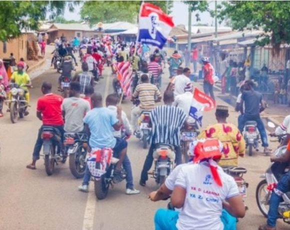 NPP supporters on bike