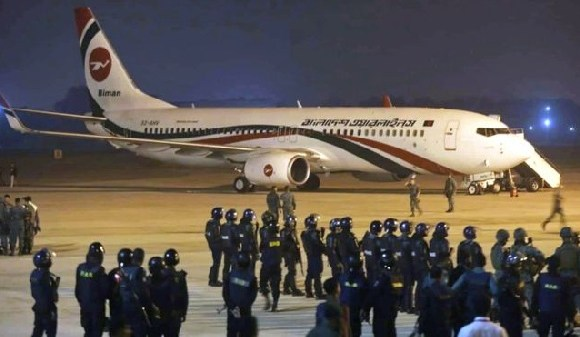 Security forces cordoned off the plane when it landed in Chittagong