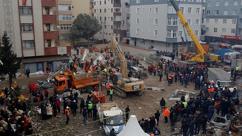 The eight-storey block where 43 people were registered as living crumbled last week