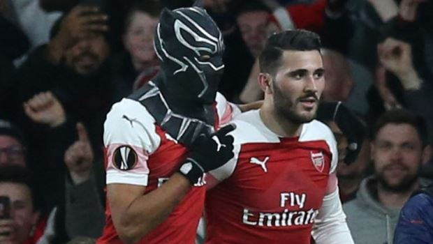 Aubameyang dons a mask to celebrate his second goal against Rennes