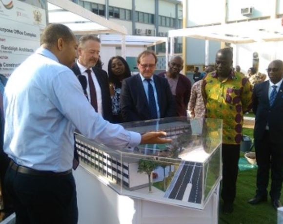 Baffour Awuah & Dr Stefan Oswald with other dignitaries having a view of the prototype office