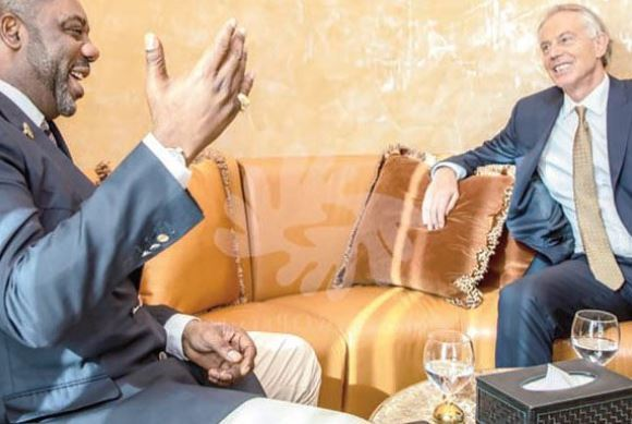 Dr. Matthew Opoku-Prempeh and Tony Blair in a hearty chat in Dubai