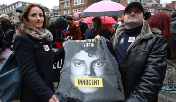 Fans protested outside Channel 4 ahead of the broadcast of Leaving Neverland last week