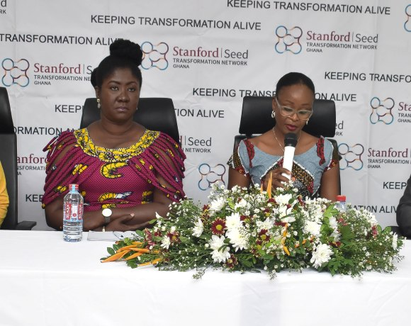 Madam Constance Swaniker (2nd from right) Addressing the Media