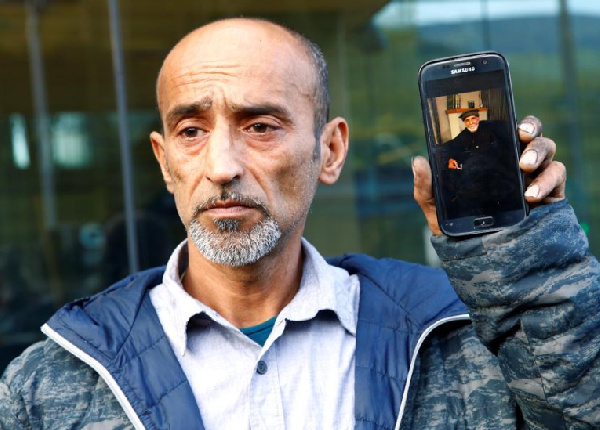 Omar Nabi speaks to the media about losing his father Haji Daoud in the mosque attacks
