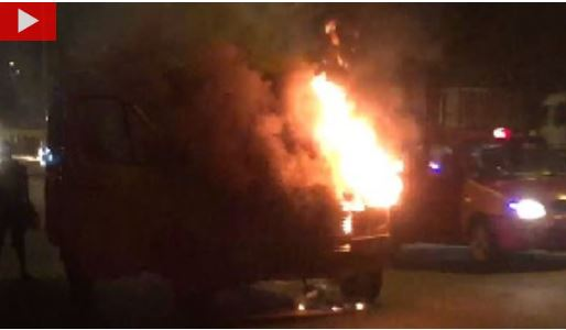 Passengers, the driver and his mate tried to douse the fire