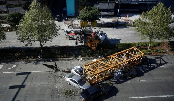 A section of the crane plunged into Mercer Street, Seattle