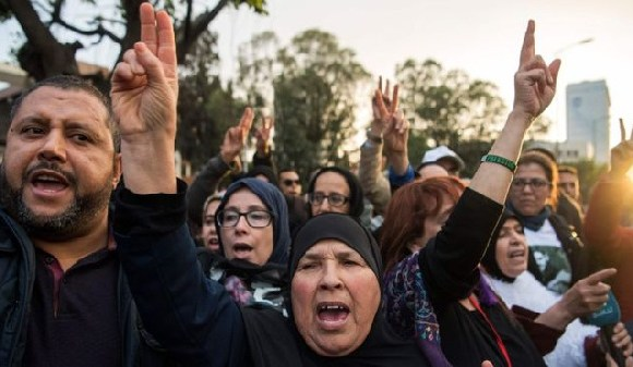Demonstrators outside the Casablanca courthouse demanded the immediate release of the activists