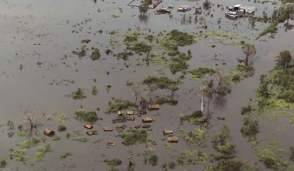 Flooded homes are seen after Cyclone Idai in Buzi district outside Beira, Mozambique, March 21, 2019