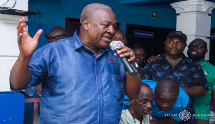 Former President, John Dramani Mahama at Kaneshie, Ghana Political News Report Articles