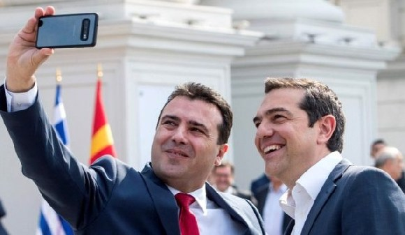 Macedonian PM Zoran Zaev with Alexis Tsipras
