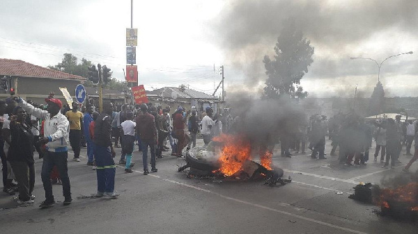 Roads in most parts of the area have been blocked by protesters with burning of car tires