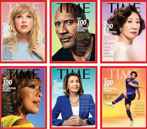 Salah and other celebrities gracing the cover of the Time magazine
