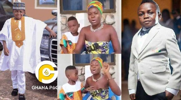 Yaw Dabo in a collage with his baby mama and son