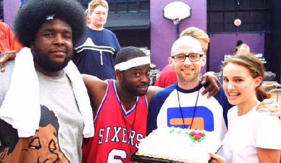 Moby and Portman pictured at an event in 2001, with members of the hip-hop group The Roots