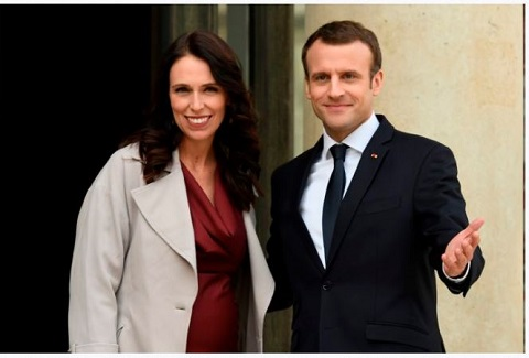 New Zealand's Prime Minister Jacinda Arden and French President Emmanuel Macron