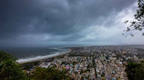 Storm clouds gather over the Indian city of Visakhapatnam