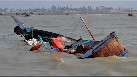 The boat capsized on Monday