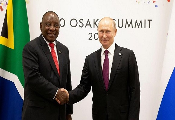 South African President Cyril Ramaphosa and Russian counterpart Vladimir Putin