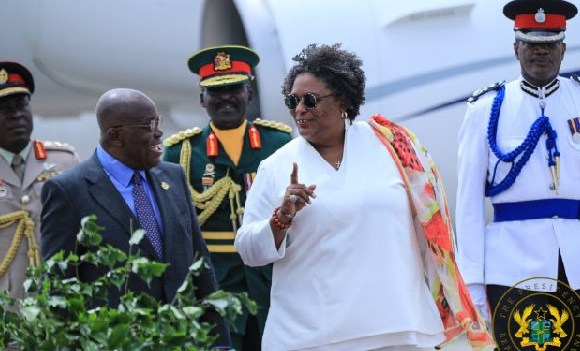 Prime Minister of Barbados, Mia Amor Mottley during her arrival at the Kotoka International Airport