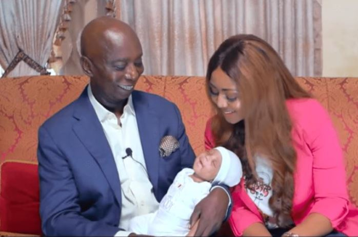 Regina Daniels with her husband Ned Nwoko and their baby Munir