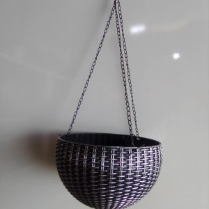 hanging basket planter silver and black