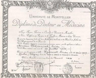 Diploma expedido por la Universidad de Montpellier el 30 de julio de 1936