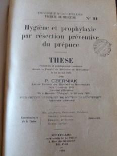 Tesis presentada por Pinhas Czerniak en la Facultad de Medicina de Montpellier (Francia) el 20 de julio de 1936