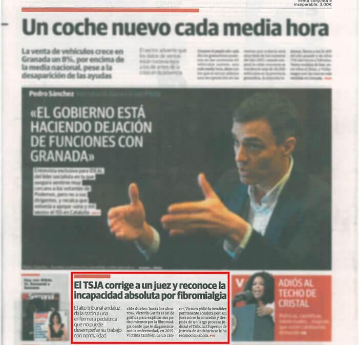 Nuestro trabajo es portada en el diario IDEAL de Granada Nueva Sentencia de Incapacidad Absoluta por fibromialgia conseguida ante el TSJA por Miguel Garrido.