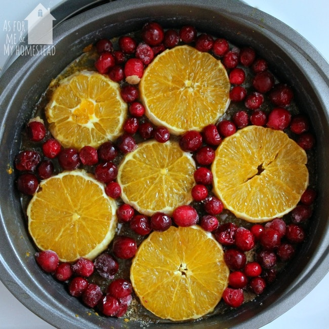 Cranberry Orange Upside-down Cake is a fun variation on the traditional pineapple dessert | www.asformeandmyhomestead.com