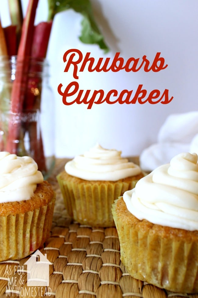 Rhubarb Cupcakes | As For Me and My Homestead - Sweet and tart, this rhubarb cupcake recipe is full of the flavor of spring!