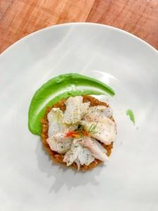 Plat⎪Effiloché de poisson à la poudre de feuille de figuier, risotto de petit épeautre