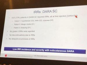 daratumumab infusion-related reactions IRRs