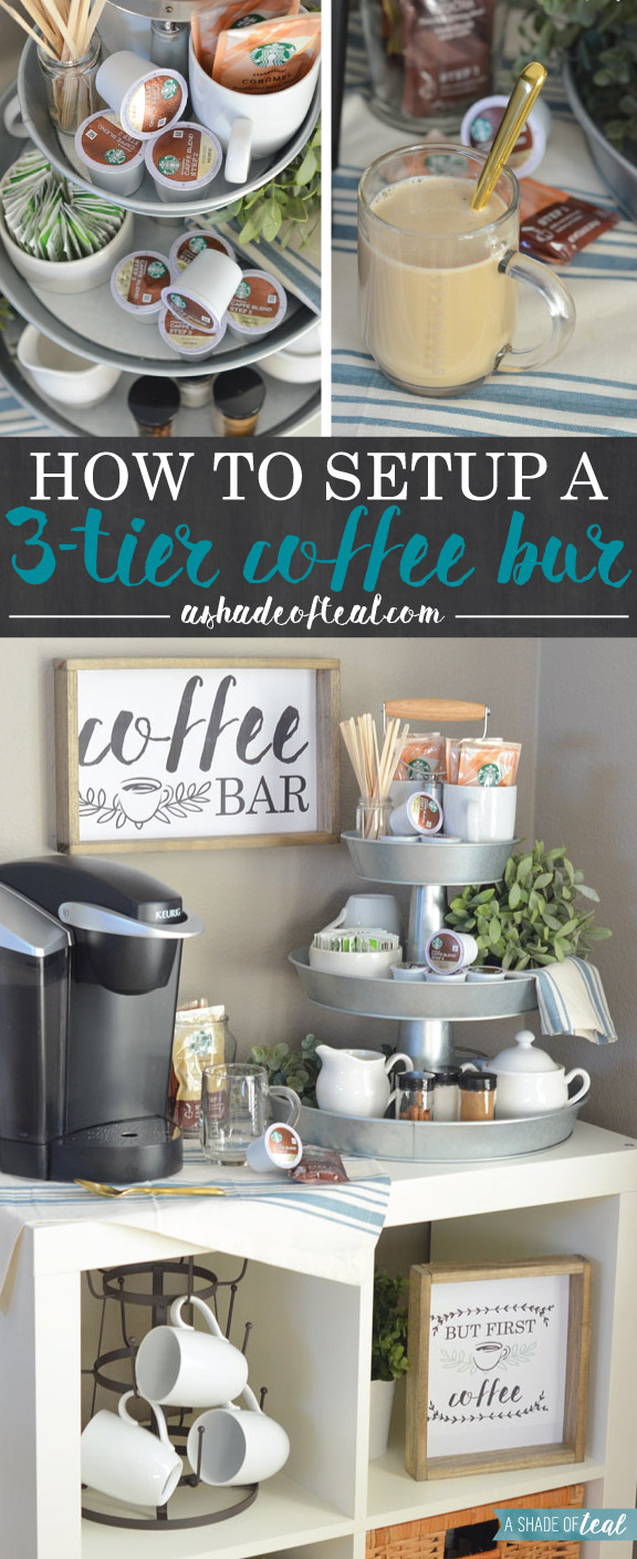 how to setup a 3 tier coffee bar plus free printables On coffee bar setup ideas