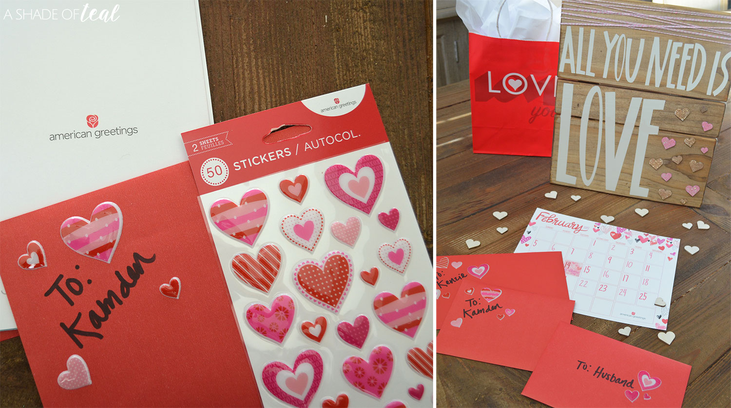 How to make wrap a valentines sign then i decorated with some wrapped twine and of course more american greetings cards heart stickers m4hsunfo