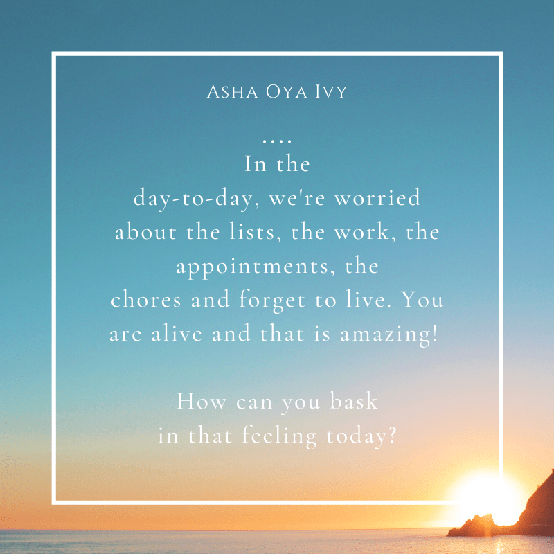 in the day-to-day, we're worried about the lists, the work, the appointments, the chores and forget to live. you are alive and that is amazing! how can you bask in that feeling today?