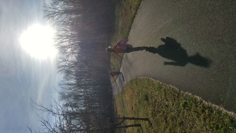 At Peace Valley Park; the camera facing the sun creates an enchanted effect; the large shadow adds to it
