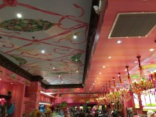 The inside of the Sloan's - a very delightful ice-cream shop with toy trains running at the counter and at the ceiling!
