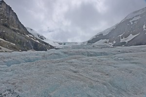 Looking up the Athabasca glacier