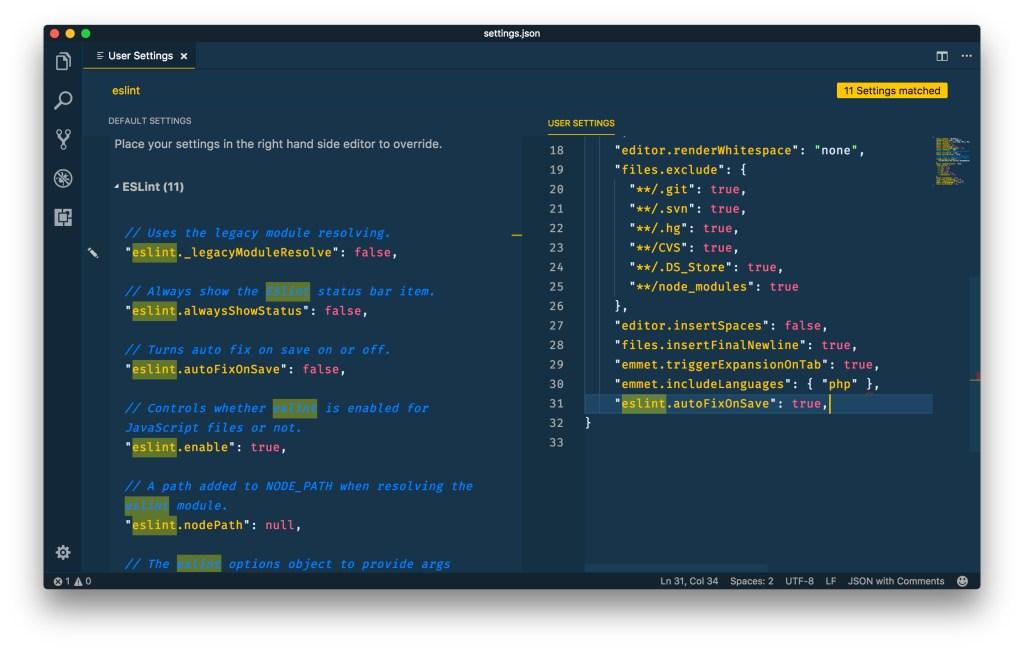 ESLint — VSCode autoFixOnSave Setting