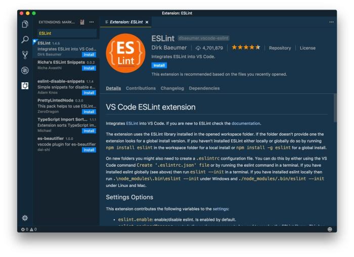 ESLint — VSCode Extension Installation