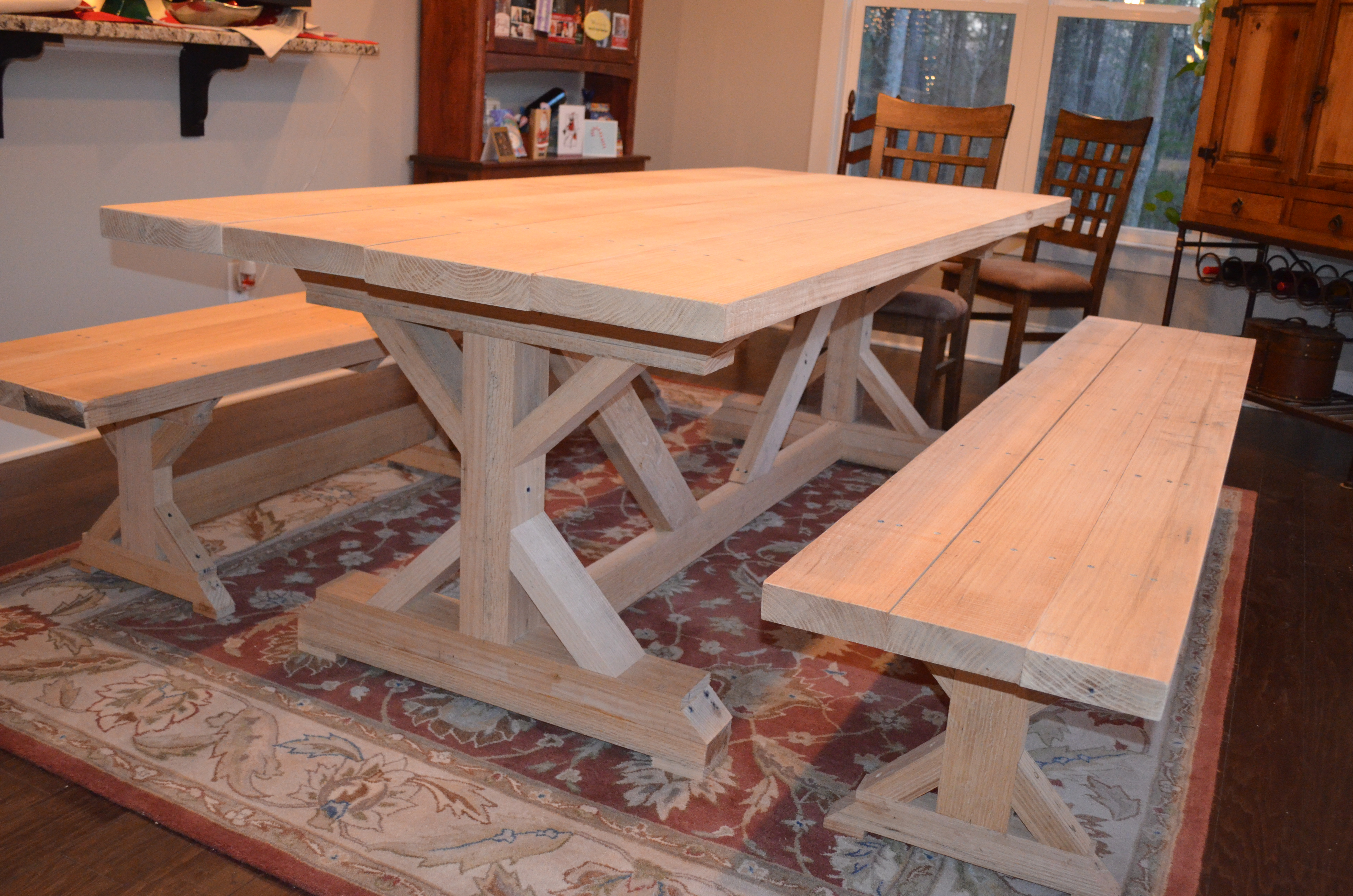 Our Fancy Smancy Farmhouse Table With Matching Benches