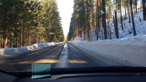 Driving on ice Yosemite Valley